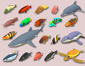 Fish Cartoon Collection Part 02 Animated - Game 3D model 1