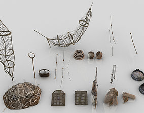 3D model Collection of 24 Medieval Fishing Nets and Tools