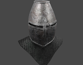 3D model game-ready Medieval Helmet