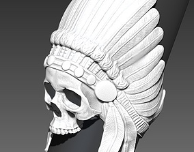 Detailed Indian Skull Chief Ring 3D print model
