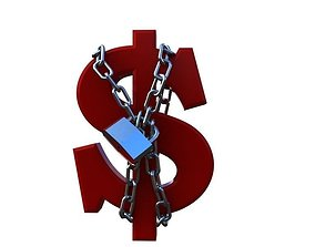 3D model dollar chained