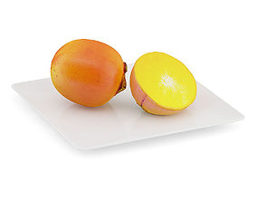 Persimmon Fruits on White Plate 3D