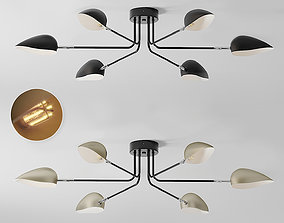 3D model Industrial Modern 3-6 Light Ceiling Lamp