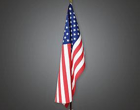 American Flag Interior Pole Holder BHE - PBR Game 3D asset