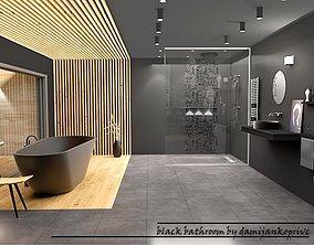 black bathroom design 3D model