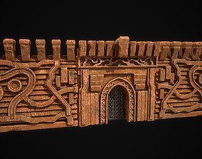 Fantasy castle gate and wall modular 3D model