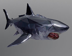Dark Shark Low Polygon Art Ocean Fish 3D asset
