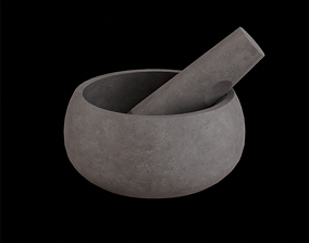 3D asset Mortar and Pestle concrete muddy