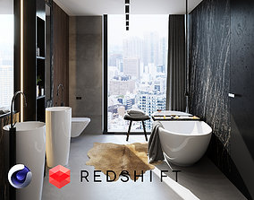 Bathroom Interior Scene for Cinema 4D and Redshift 3D