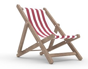 3D model Beach chair Deck chair low poly red