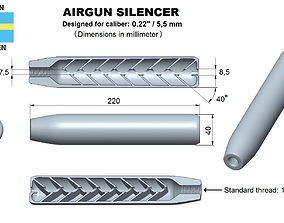 3D print model Airgun silencer superior caliber 22