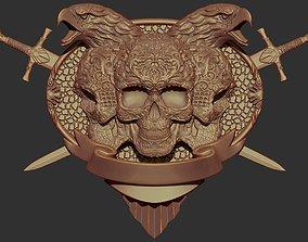 3D print model Skull Shield Eagle Head and Sword