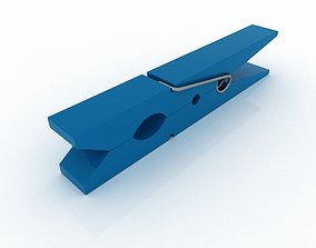 CLOTHES PEG BLUE PLASTIC 3D model
