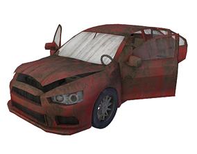 3D asset broken car post apocaliptic