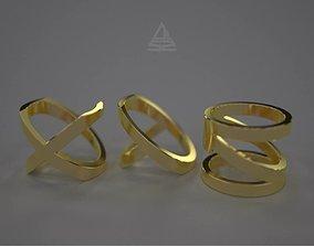 XYZ letters ring set 3D print model gold