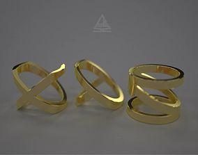 XYZ letters ring set 3D printable model