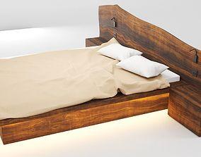 Wooden Hard Massive Bed 3D model PBR