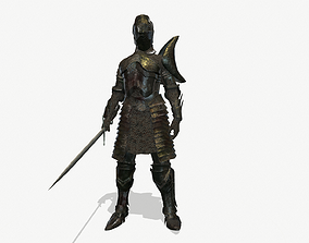 Knight 3D asset animated low-poly PBR