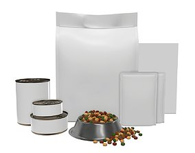 Blank Pet Food Package Set 3D model