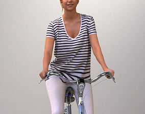 Pre-posed 3D lady on a bicycle