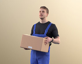 11420 Jimmy - Worker delivering cardboard box goods 3D
