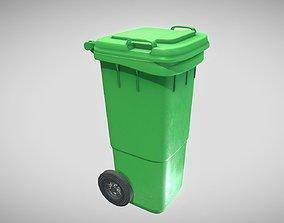 Green Plastic Waste Bin 60 Liters 3D asset