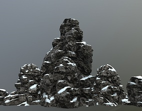 3D model low-poly rocks moss