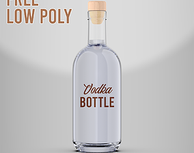 Free Vodka Bottle Low Poly 3D asset