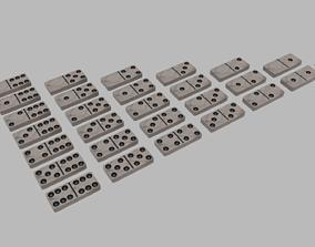 Marble Domino Set 28 pieces 3D asset