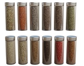3D asset 12 Spice Bottle Set