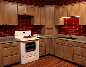 3D model animated Kitchen Cabinets