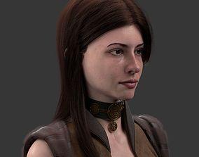 Bust girl medieval 3D