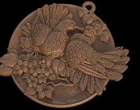 Doves pendant medallion jewelry 3D printable model