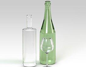free Glass bottles 3D model