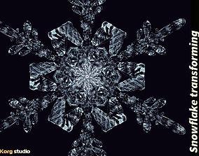 Snowflake transforming 3d animation animated
