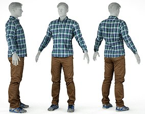 Male Casual Outfit 57 Shirt Trousers Footwear 3D model