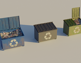 realtime Garbage Container - Street 3D Lowpoly Trash 1