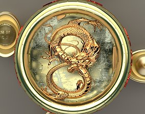 3D Chinese Gold Ingot with dragon