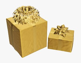 Wrapped Christmas gifts 04 3D model