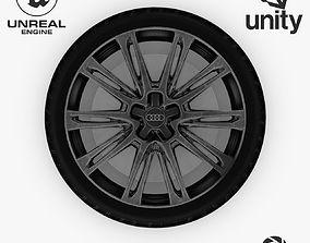 3D model Wheel Steel-Chrome Dark Alloy Rim Audi 19 2