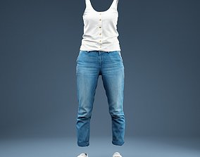 Clothing Full Body Jeans and White Tank Top 3D asset