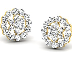 Women round earrings 3dm render detail wedding
