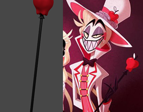 Lucifer apple scepter Hazbin Hotel staff for printing