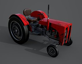 Old farm tractor 3D model low-poly