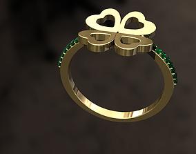 3D printable model 4 leaf clover Ring