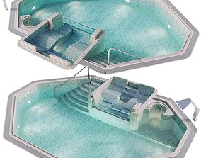 Swimming pool with spa area hydromassage and 3D model