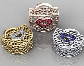 Wireframe Flowers Padlock Charms Pendant 3D print model