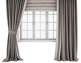 3D model Two-tone beige-brown curtains with window
