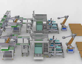 Pcb board loading package stacking conveyor line 3D