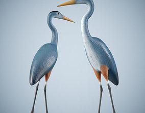 Handpainted Heron Sculpture 3D asset